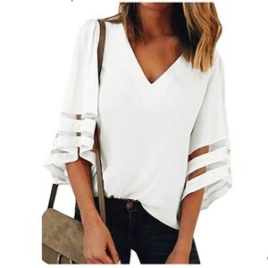 Tops - White Flowy Bell Sleeve Top